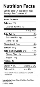 Bistro Blend 1 lb Nutrition Facts