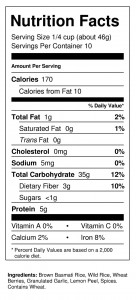 Tasty Thyme 1 lb Nutrition Facts