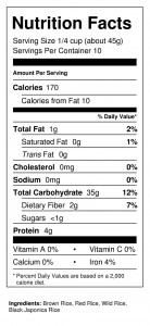 Wild Rice Jubilee 1 lb Nutrition Facts