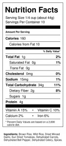 Wild & Ricey 1 lb Nutrition Facts