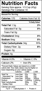 quinoa 16oz nutritional label