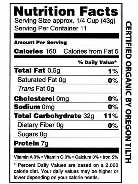 Canadian Lake Wild Rice Certified Organic 1 lb Nutrition Facts